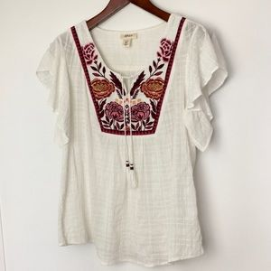 Style & Co White Boho Blouse with Embroidery sz L